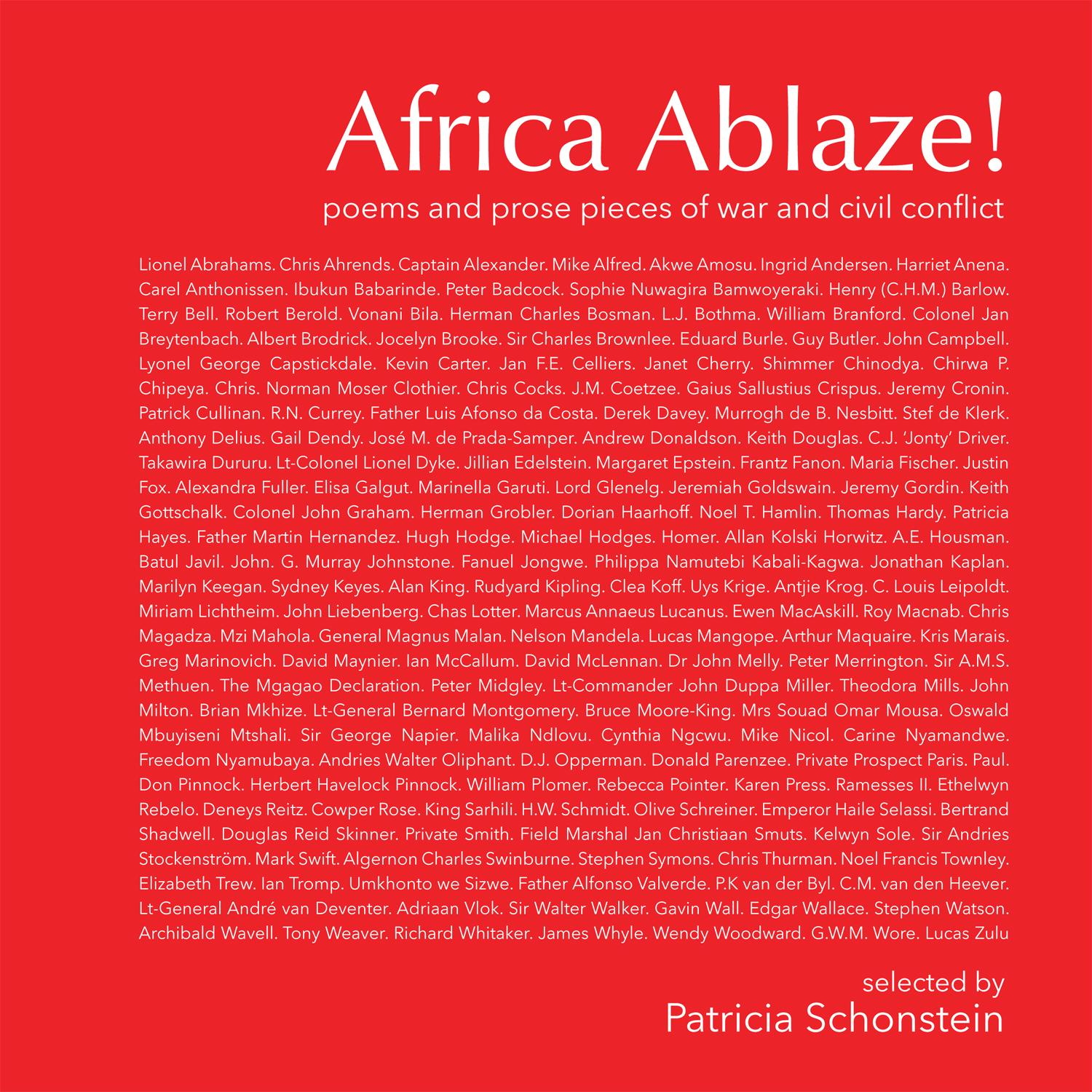Cover of the poetry anthology, Africa Ablaze