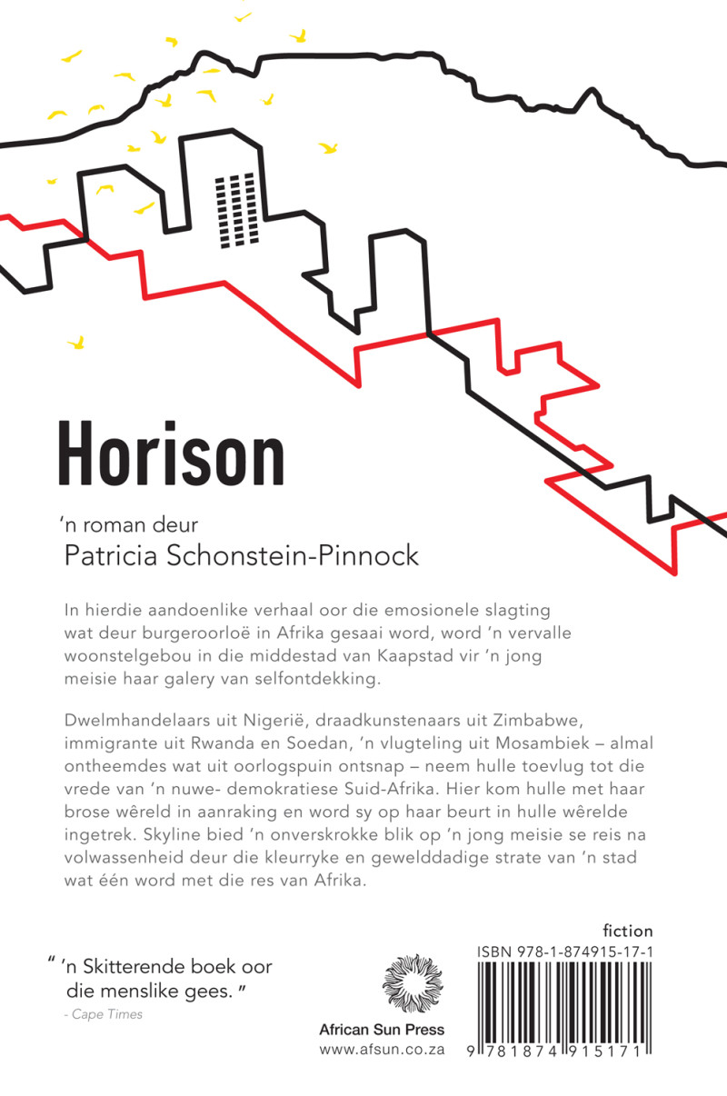 Back cover of the Afrikaans novel, Horison