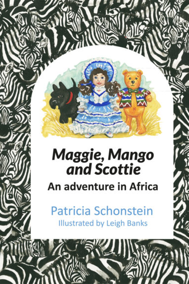 Front cover of the childrens book, Maggie, Mango and Scottie